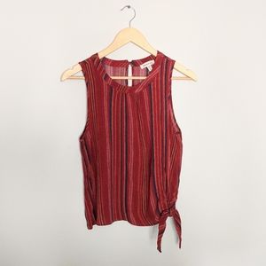 Red Vertical Striped Tanktop with Side Tie
